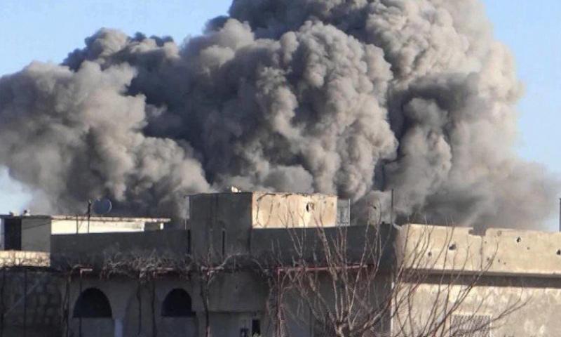 القصف على بلدة تلدو بريف حمص الشمالي_(فيس بوك)