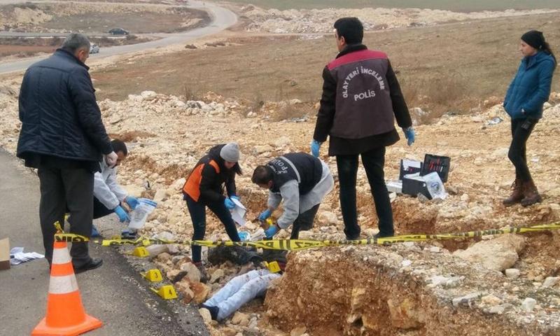 مكان العثور على الجثة قرب غازي عنتاب التركية - 15 كانون الثاني 2017 (موقع خبر ترك)