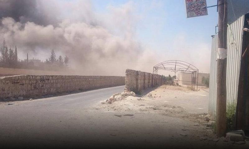 آثار القصف على بلدة تادف 2 كانون الثاني_(تويتر)