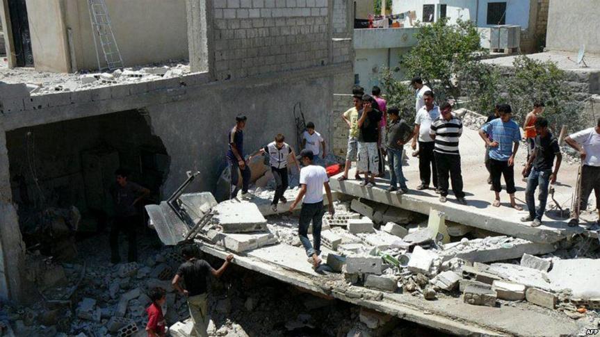 آثار القصف على بلدة داعل بدرعا أيلول 2016 (انترنت)