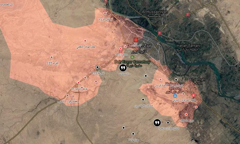 خريطة تظهر مناطق توزع السيطرة في دير الزور (إنترنت)
