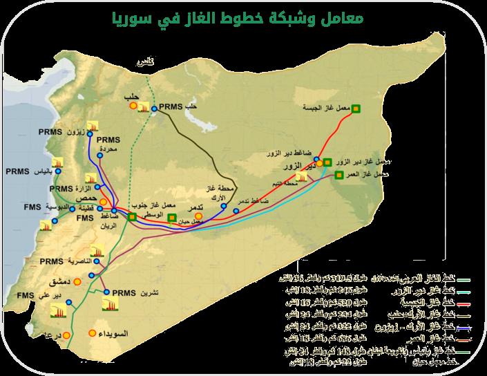 خريطة تظهر توزع الآبار النفطية ومحات الضخ في سوريا_(وزارة النفط)