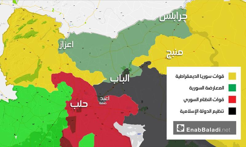 خريطة تظهر توزع السيطرة شمال حلب - 18 كانون الثاني 2016 (عنب بلدي)