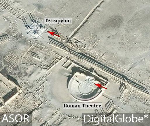 الدمار الحاصل في المنطقتين من الأقمار الصناعية (ASOR)
