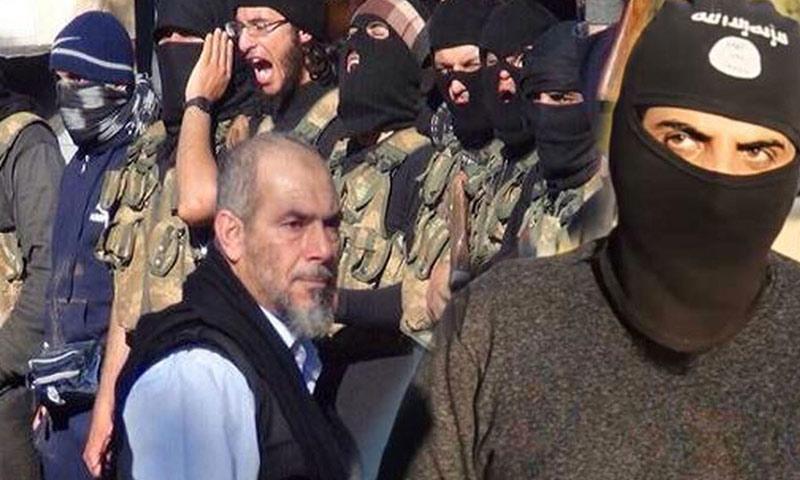 """""""أبو عبد العزيز القطري"""" مع مقاتلي """"جند الأقصى"""" (تعديل عنب بلدي)"""