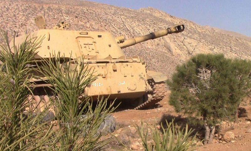 دبابة تابعة لقوات الأسد على أطراف وادي بردى- الخميس 12 كانون الثاني (تويتر)