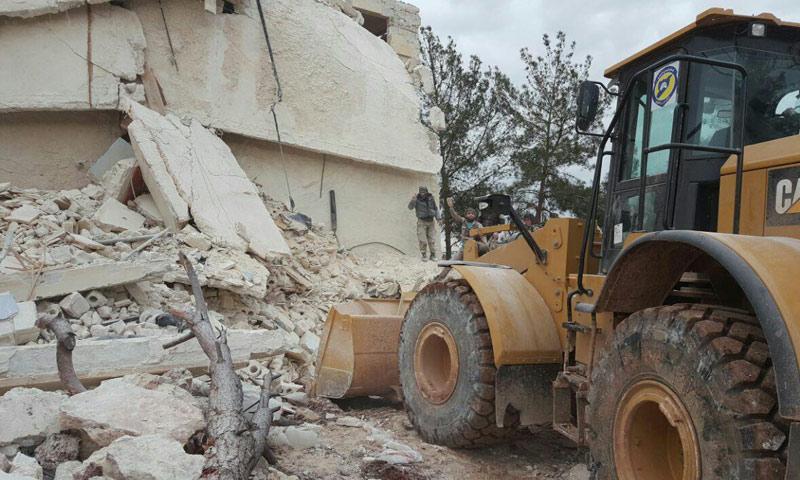 """دمار لحق بمنازل منطقة """"ريف المهندسين"""" في ريف حلب- الاثنين 30 كانون الثاني (مركز حلب الإعلامي)"""