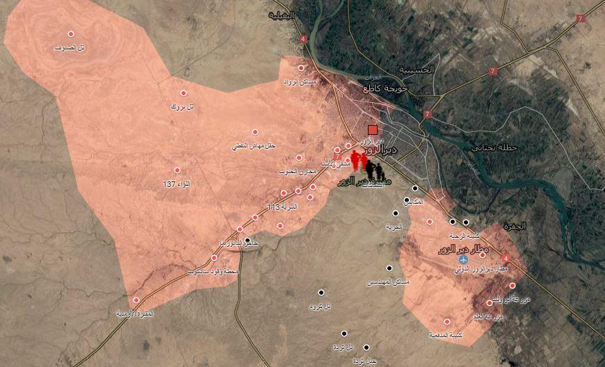 خريطة توضيحية لتمركز قوات النظام وتنظيم الدولة في دير الزور_(عنب بلدي)