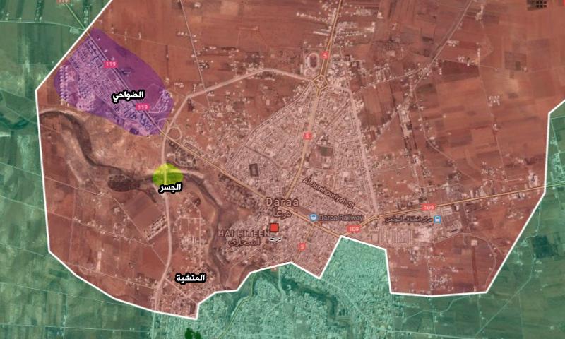 خريطة تظهر حي المنشية والجسر ومنطقة الضواحي غربه (تعديل عنب بلدي)