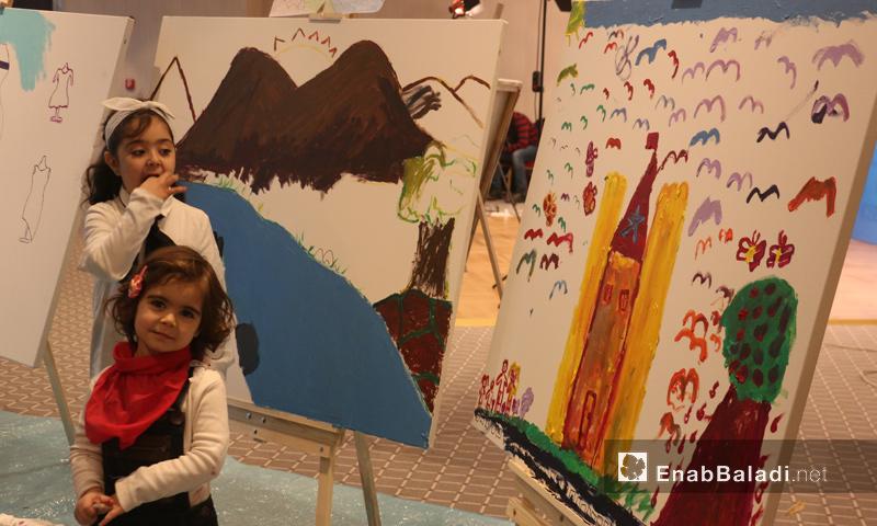 رسومات لأطفال سوريين خلال المؤتمر الدولي لتعليم السوريين في اسطنبول التركية - 19 شباط 2017 (عنب بلدي)
