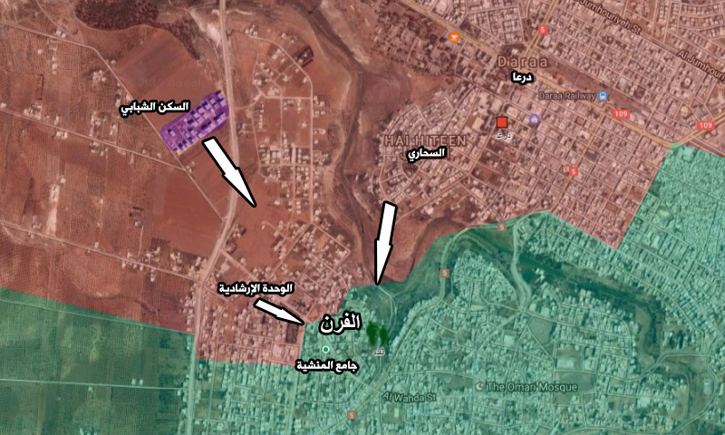 خريطة توزع السيطرة والمجريات الحالية في محيط حي المنشية بدرعا (تعديل عنب بلدي)