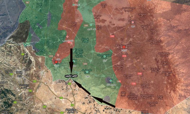 خريطة تظهر طريقان يمكن لقوات الأسد سلكهما إلى معبر نصيب (تعديل عنب بلدي)