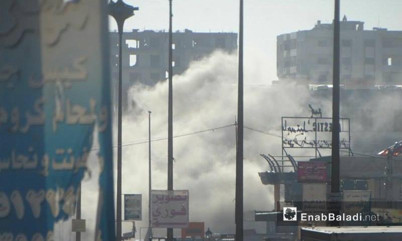 سقوط صاروخ من نوع فيل على أحياء حي الوعر بحمص_7 شباط_(عنب بلدي)