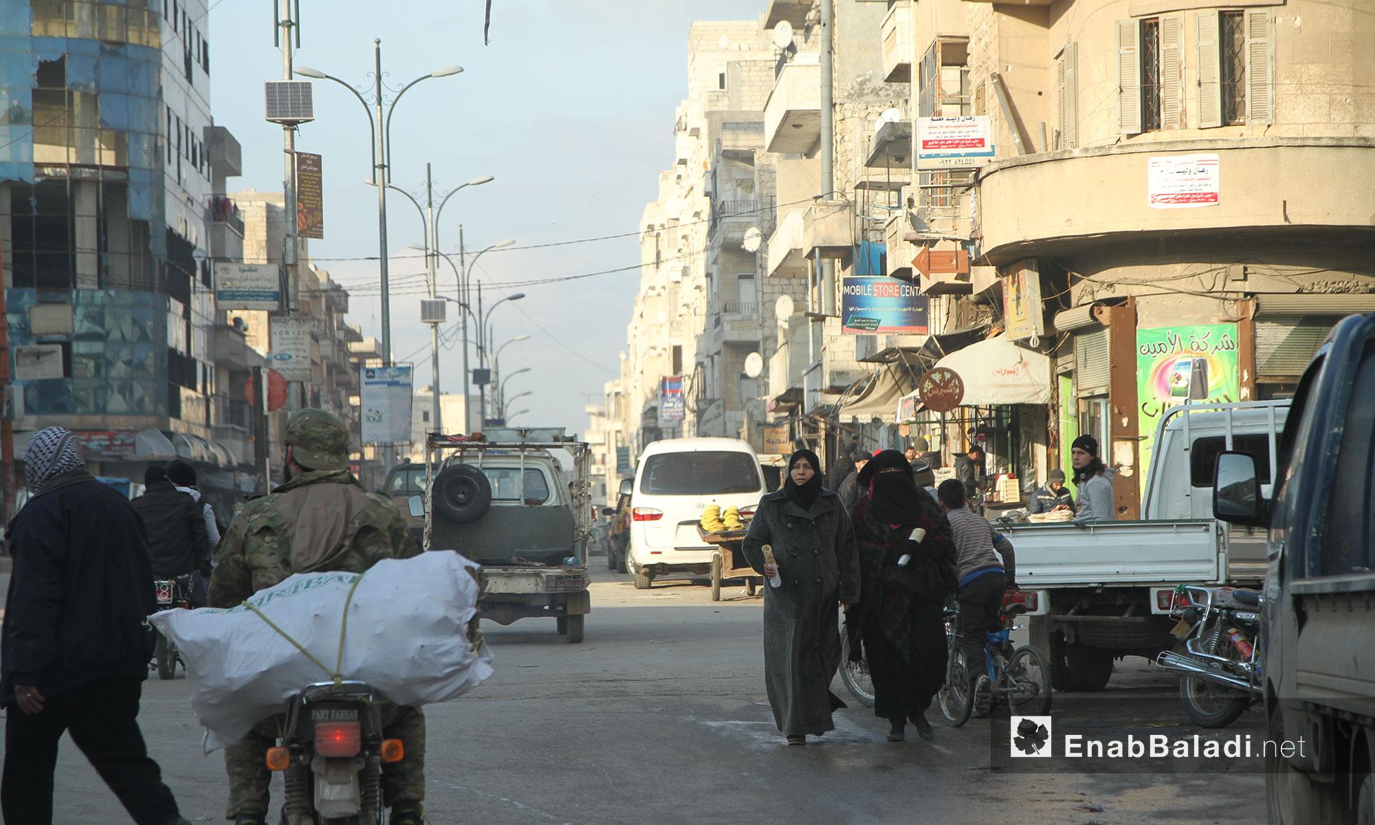 أحد شوارع مدينة إدلب - 9 شباط 2017 (عنب بلدي)