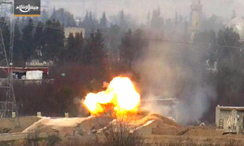 دبابة دمرها جيش الإسلام على جبهة حزرما - 27 شباط -(جيش الإسلام)