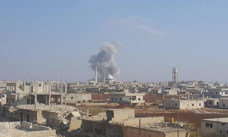 غارة جوية على مدينة كفرزيتا في ريف حماة الشمالي- الأحد 5 شباط (فيس بوك)