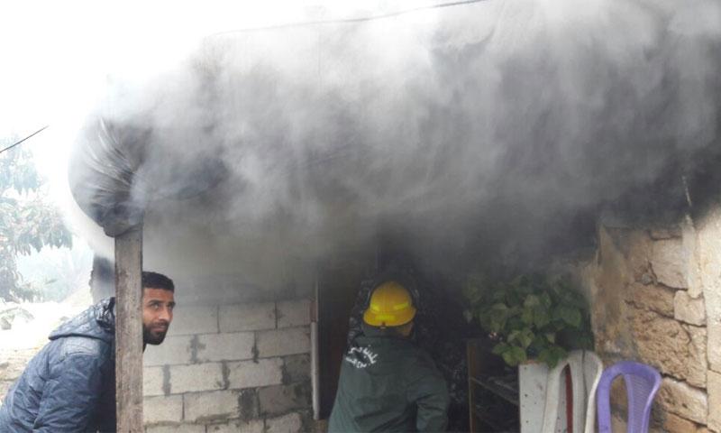 نجاة عائلة سورية من حريق منزلها في لبنان - الثلاثاء 14 شباط - (الوكالة الوطنية للأنباء)