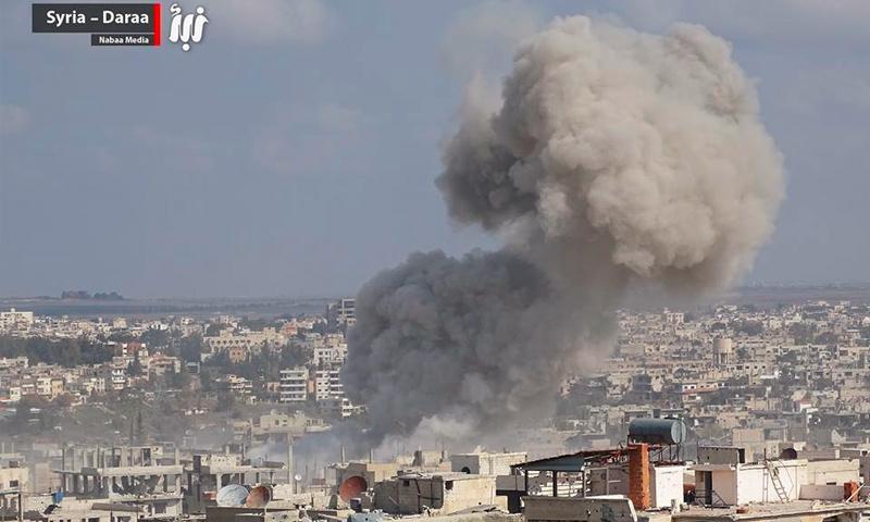 القصف على حي المنشية غرب درعا البلد - 12 شباط 2017 (وكالة نبأ)