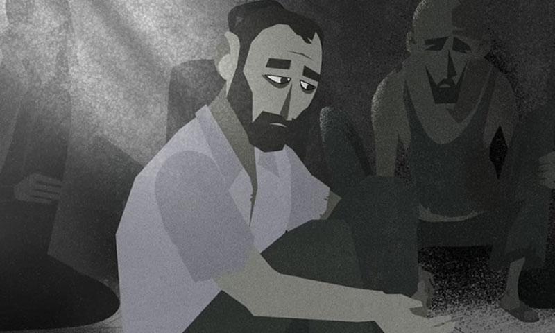 رسم تخيلي لمعتقلين في سجن صيدنايا (العفو الدولية)