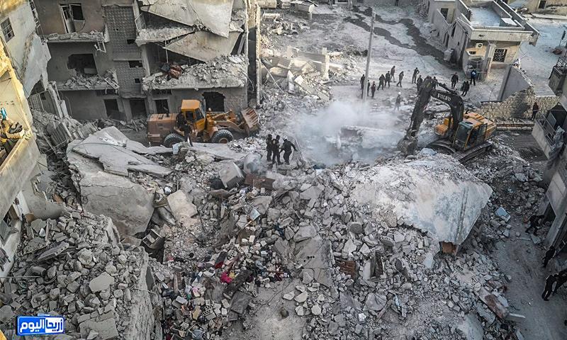 الغارات على مدينة أريحا في ريف إدلب - 27 شباط 2017 (أريحا اليوم في فيس بوك)