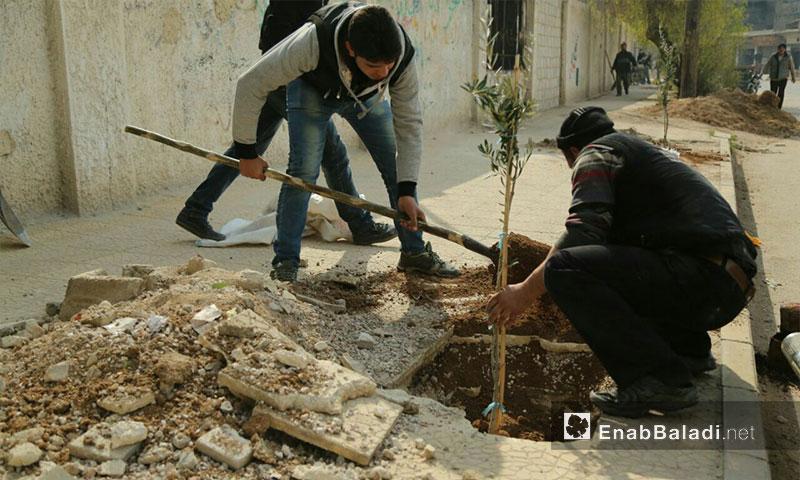 من نشاطات حملة فليغرسها في الغوطة الشرقية 8 - شباط 2017 (عنب بلدي)