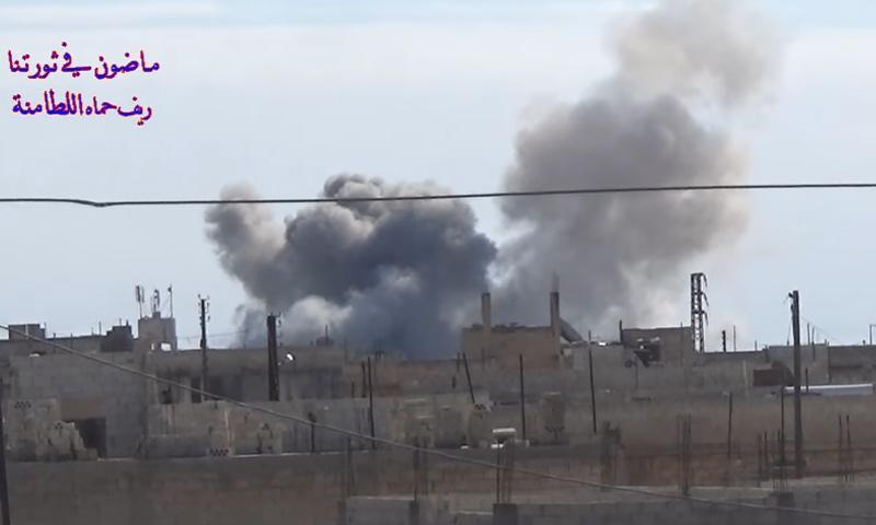 غارات من الطيران الحربي على مدينة اللطامنة في ريف حماة- الجمعة 17 شباط (يوتيوب)