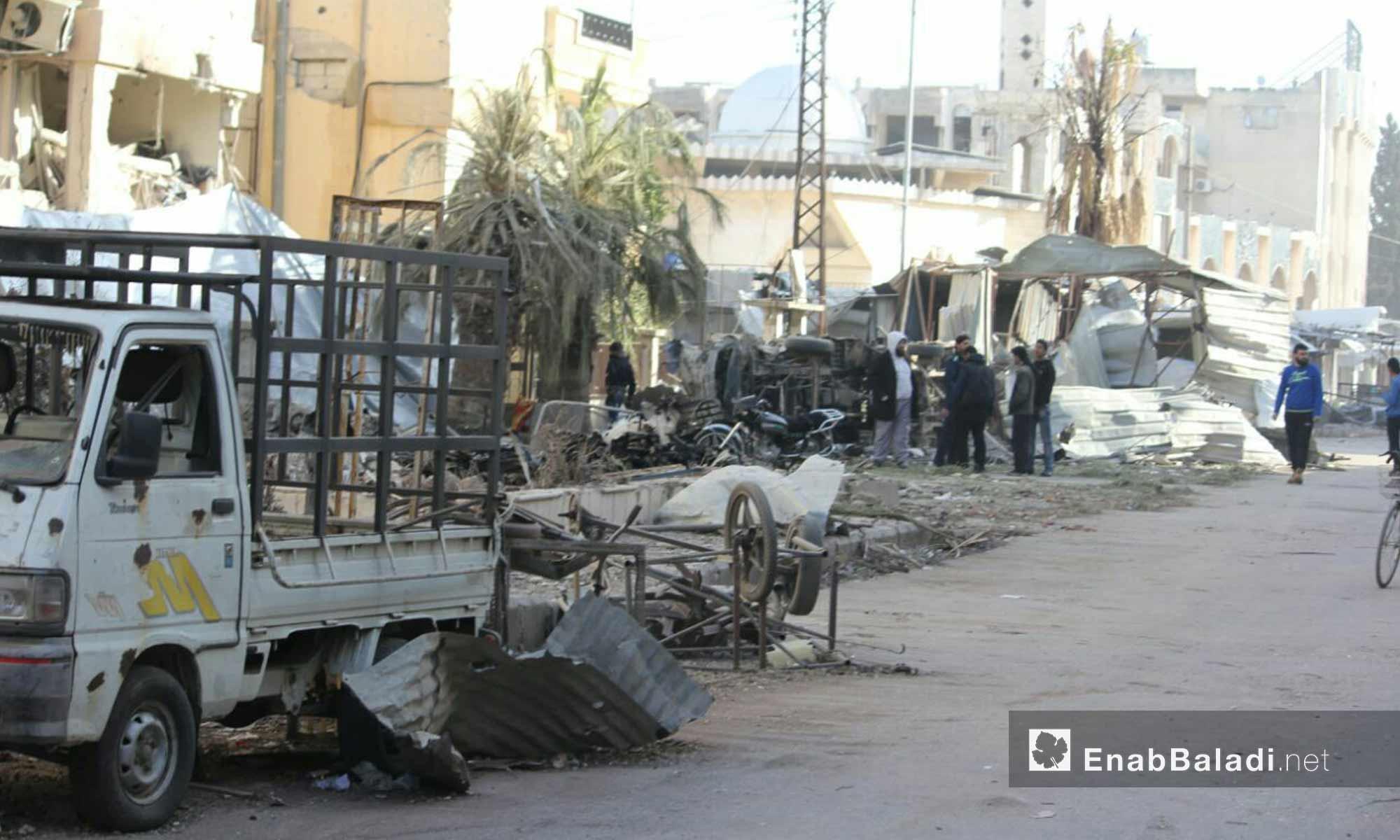 حي الوعر صباحًا بعد يوم من القصف - 26  شباط 2017- (عنب بلدي)