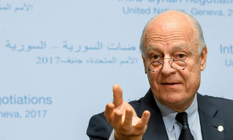 المبعوث الدولي إلى سوريا ستيفان دي ميستورا في مؤتمر صحفي في جنيف- الأربعاء 22 شباط (AFP)