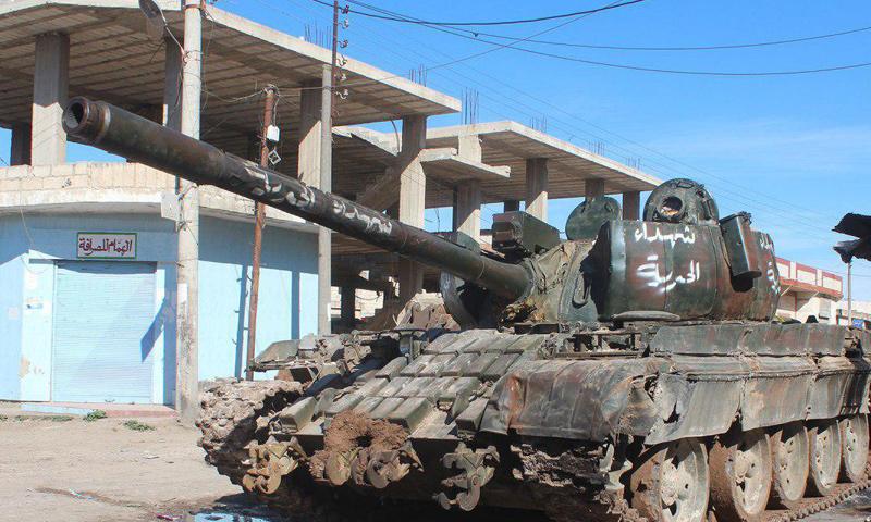 """دبابة أعلن """"جيش خالد"""" استيلاءه عليها في حوض اليرموك- الاثنين 20 شباط (تلغرام)"""