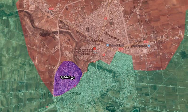 خريطة تظهر موقع حي المنشية في درعا (تعديل عنب بلدي)