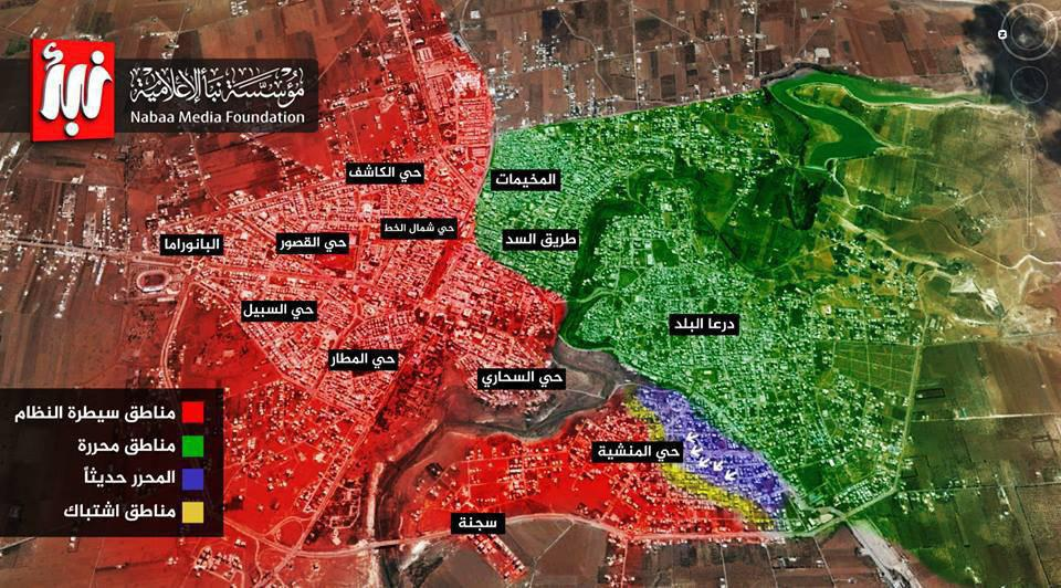 خريطة عسكرية لواقع المعارك في حي المنشية بدرعا (وكالة نبأ)