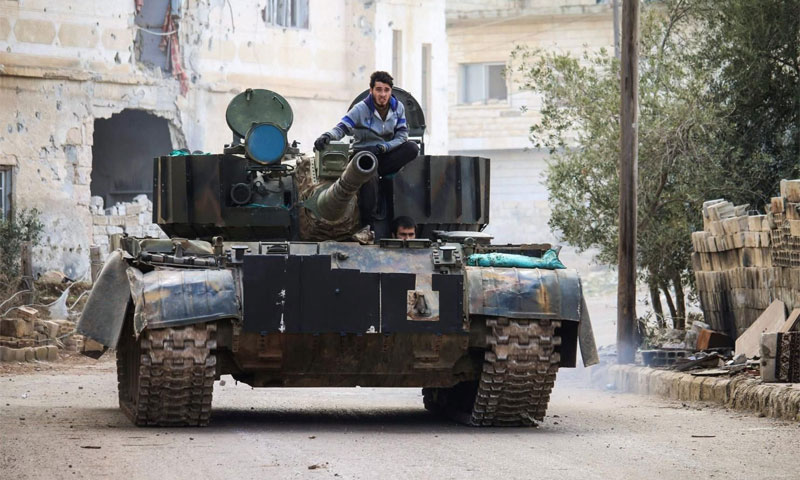 دبابة لفصائل المعارضة في مدينة درعاكانون الثاني 2017(AFP)