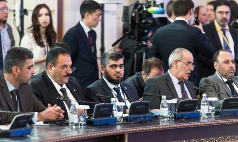 وفد فصائل المعارضة السورية في اجتماع أستانة 16 شباط (AFP)