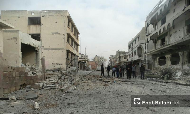 آثار القصف على حي الوعر في حمص - 27 شباط 2017 (عنب بلدي)