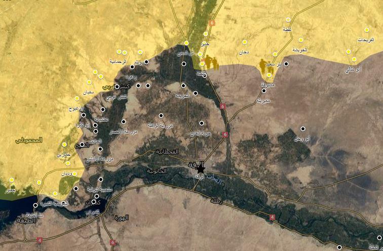 خريطة توضيحية لخط سير المعارك في محيط الرقة_7 شباط_(عنب بلدي)