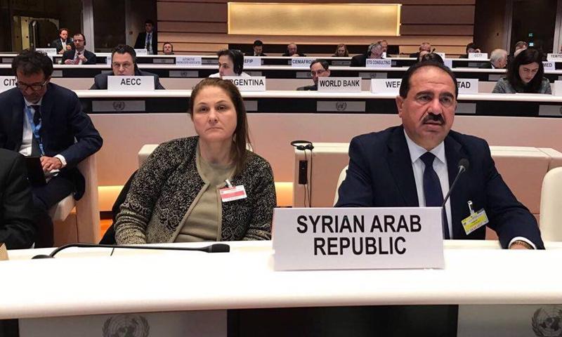 وزير النقل السوري، علي حمود، خلال حضوره مؤتمر النقل العالمي في جنيف (إنترنت)
