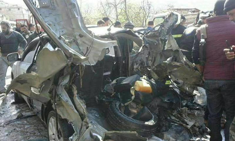 سيارة القيادي أبو إسلام المصري التي استهدفها طيران التحالف - 21 آذار 2016 -(فيس بوك)