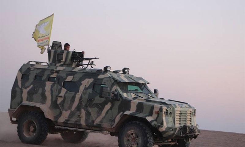 """عربة عسكرية تابعة لـ """"قوات سوريا الديمقراطية"""" في ريف الرقة- شباط 2017 (قسد)"""