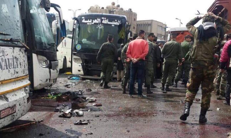 آثار التفجيرات التي ضربت منطقة باب مصلى بالعاصمة دمشق- 11 آذار- (فيس بوك)