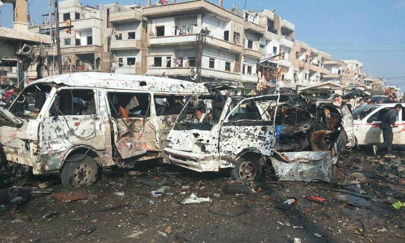 تعبيرية: من التفجير الذي استهدف حافلة نقل ركاب في شارع الستين بحمص - شباط 2016 (إنترنت)