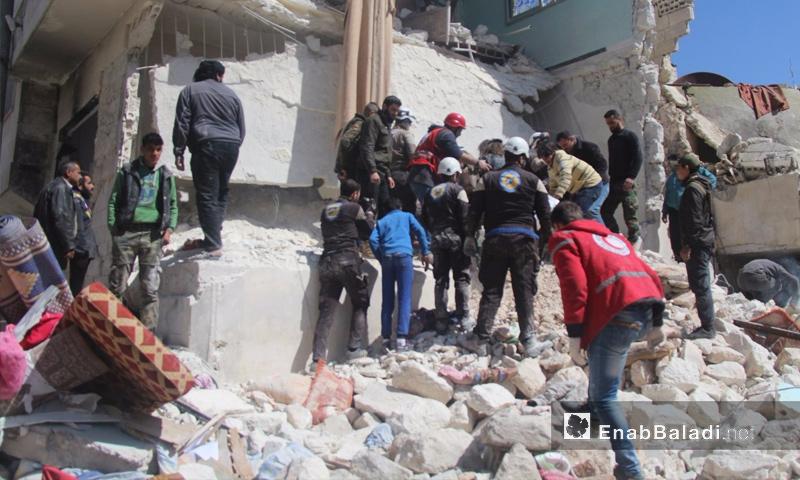 آثار القصف على مدينة إدلب - 19 آذار 2017 (عنب بلدي)