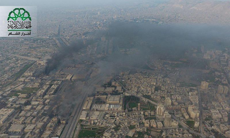 صورة جوية للمنطقة المعامل الواقعة بين حيي جوبر والقابون في دمشق- الثلاثاء 21 آذار (أحرار الشام)