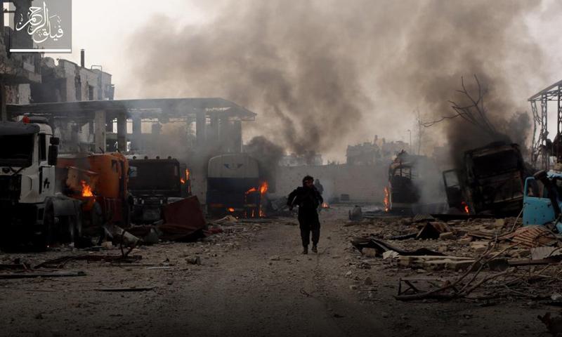 """مقاتل من """"فيلق الرحمن"""" في حي جوبر الدمشقي- الثلاثاء 21 آذار (تويتر)"""