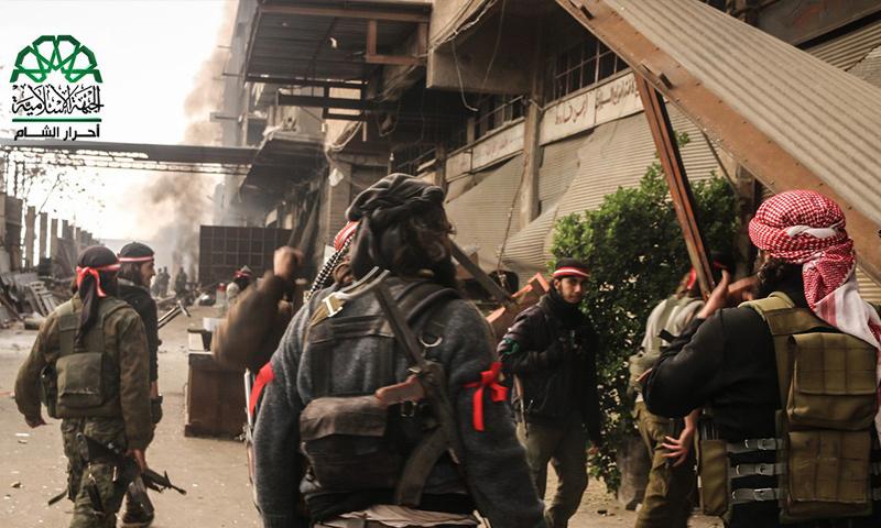 """مقاتلو حركة """"أحرار الشام الإسلامية"""" في حي جوبر بدمشق - 19 آذار 2017 (أحرار الشام)"""