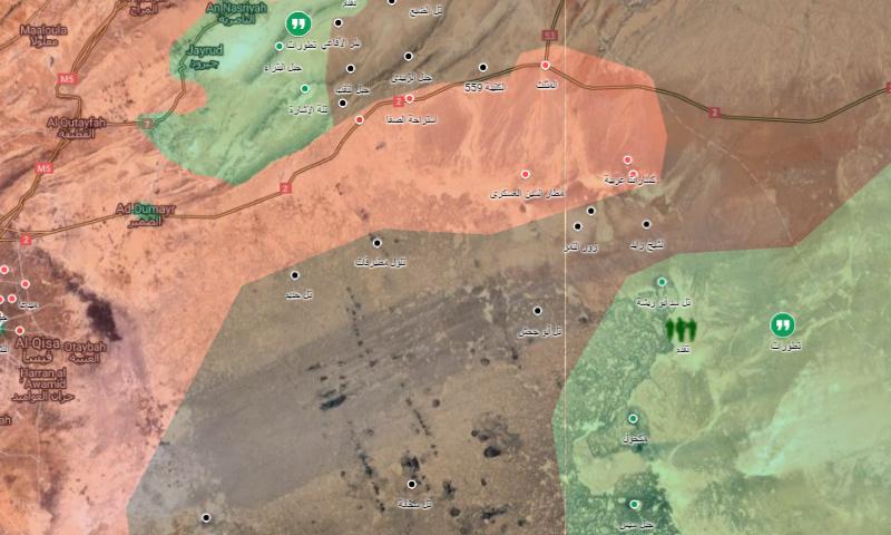 خريطة تظهر توزع السيطرة في بادية دمشق (خرائط غوغل معدلة)