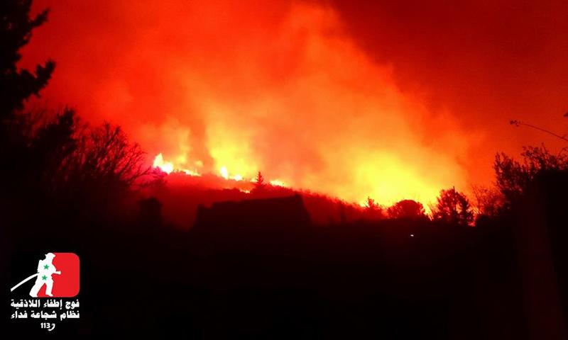 حرائق مدينة القرداحة بريف اللاذقية - 1 آذار 2017 - (فيس بوك)