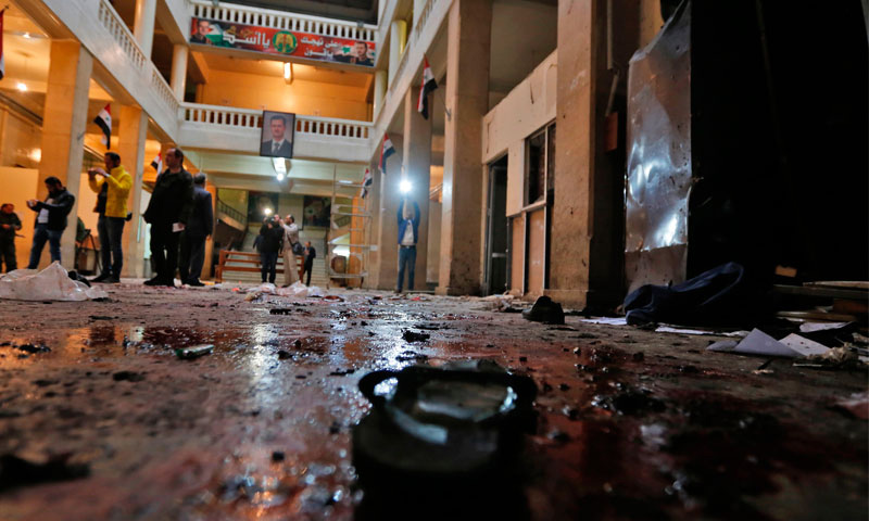 آثار التفجير في قصر العدل في دمشق - 15 آذار 2017 (انترنت)
