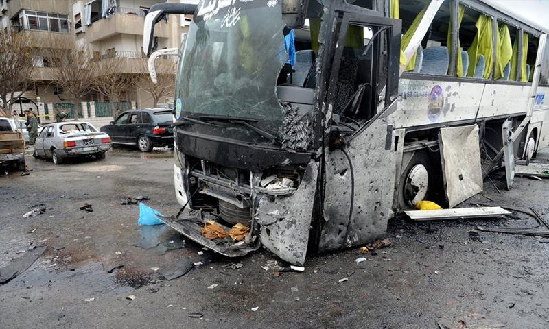 اثار التفجير في باب الصغير وسط دمشق (سانا)
