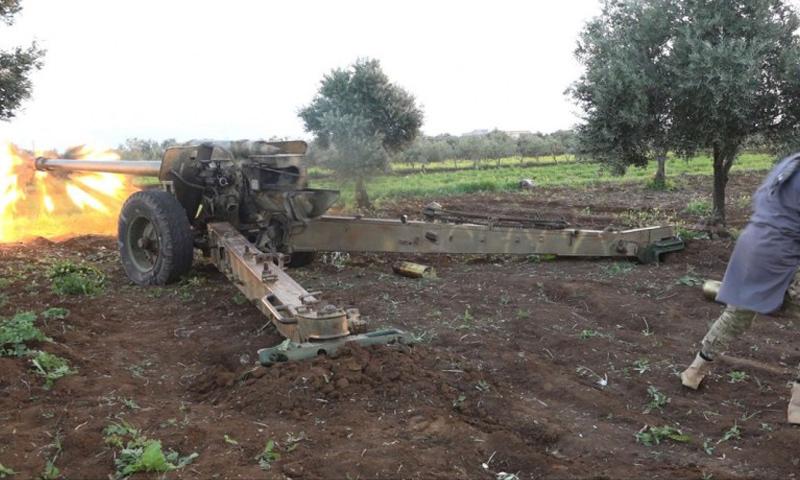 """""""جيش خالد"""" يشن قصفًا مدفعيًا على بلدة حيط في ريف درعا الغربي- الأربعاء 5 نيسان (تلغرام)"""