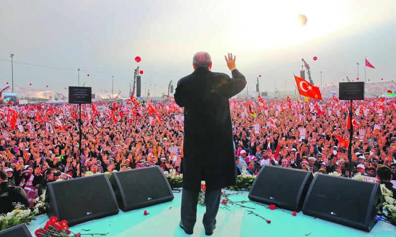 الرئيس التركي رجب طيب أردوغان، في خطاب جماهيري في اسطنبول (إنترنت)